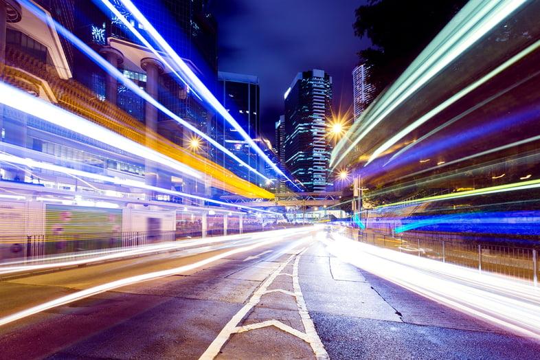 Busy traffic in Hong Kong city at night