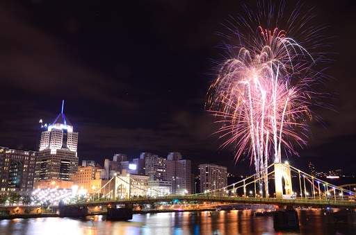 fireworks over city