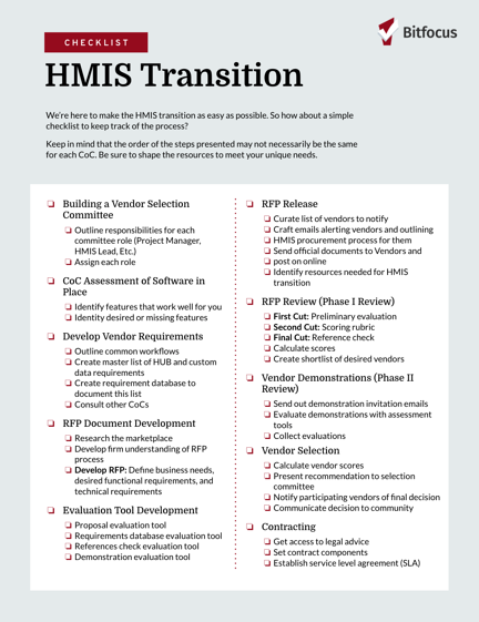 HMIS Transition Checklist Cover