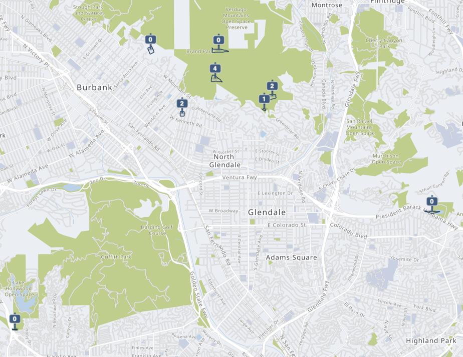 screenshot of city map of Glendale, California