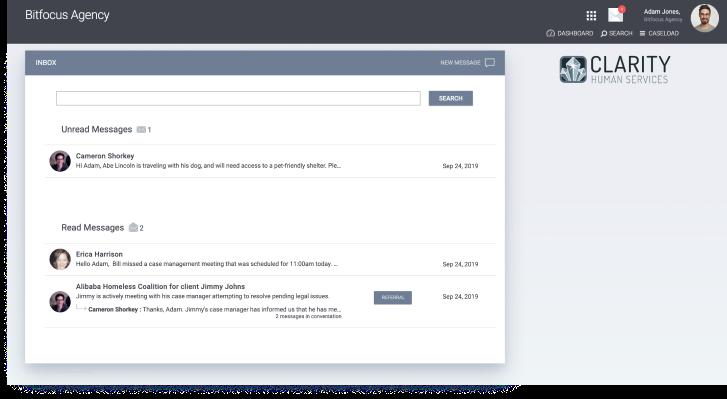 Screenshot of Bitfocus Homeless Management Information System chat system dashboard