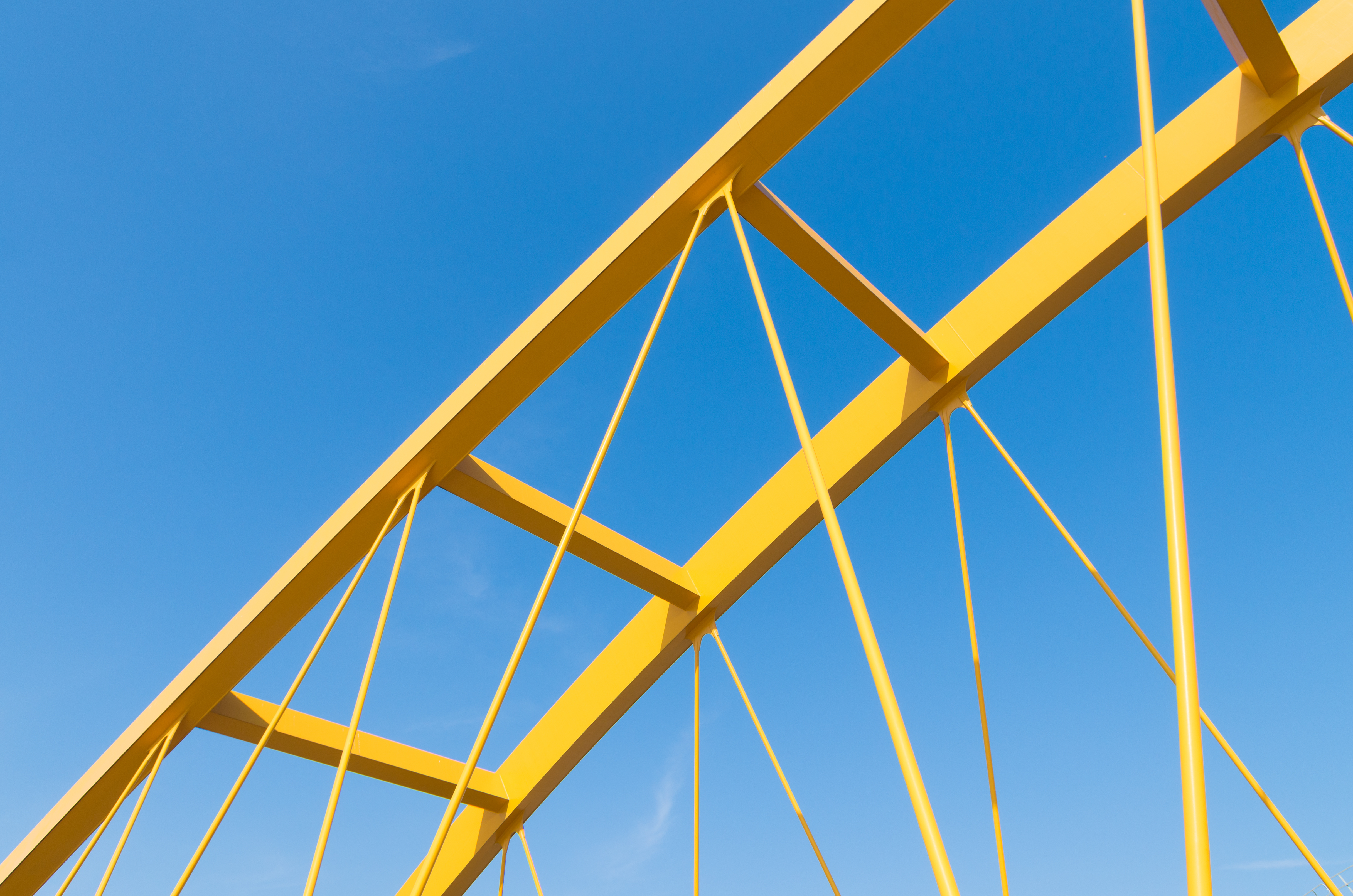 Close up shot of yellow bridge