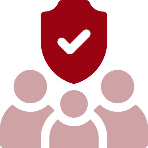 illustration icon of shield above group of users